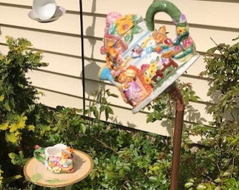 Ornate Bunny tea pot /cup saucer bird feeder