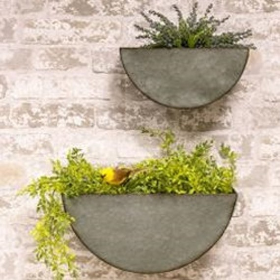 Galvanized Half Circle Wall Pockets Wall Decor Tin Wall Etsy