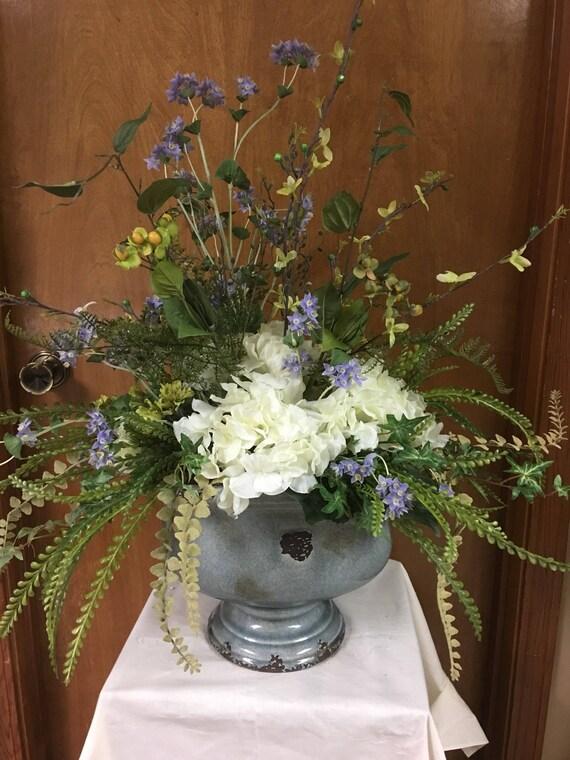 Silk Flower Centerpiece Silk Flowers Centerpieces Blue Silk Etsy