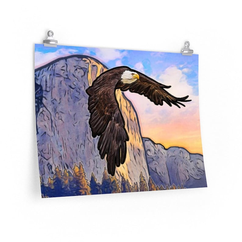 ART PRINT Bald Eagle Flying Over Yosemite National Park image 0