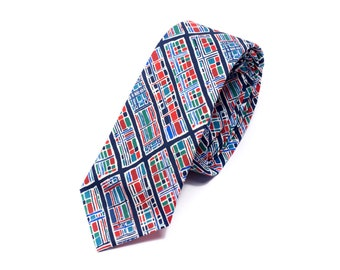 Blue & Red Grid Liberty Tie
