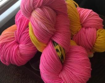 "100g/218 yards Hand-Dyed Superwash Merino Wool Yarn ""Pink Panther"" Worsted Weight READY TO SHIP!"