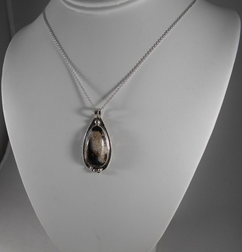 Utah Petrified Palm Wood Necklace in Fine Silver Handmade Large Black White Gray Natural Gem Statement Jewelry One of a Kind  604 G