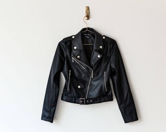 New Handmade Black Faux Leather Women Jacket 4fa875a2f2