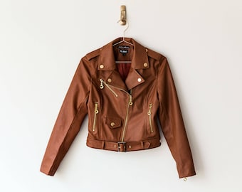 6870db4390a0 New Handmade Caramel Brown Faux Leather Women Jacket