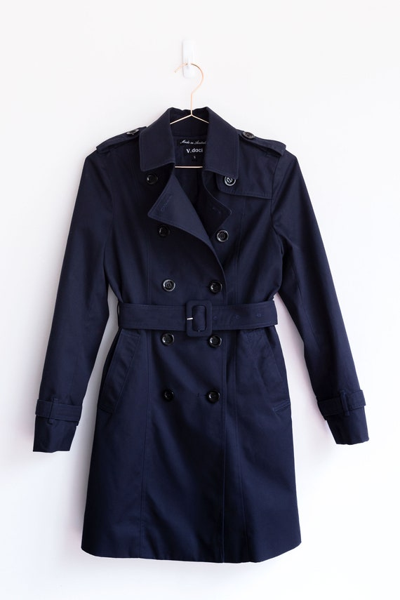 New Handmade Navy Blue Khaki Double, Navy Trench Coat Ladies