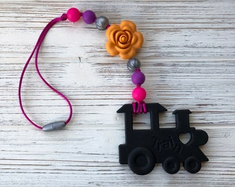 Train teether, Baby Carrier Teether, stroller toy, chew beads, teething toy, teething baby, silicone baby teether, sensory toy