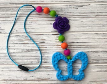 Baby Carrier Accessory, Stroller Toy, Baby Carrier Teether, Stroller Teether, Butterfly Teether, Silicone Beads, Chew Beads, Sensory Toy