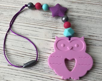 Owl Teether, Baby Carrier Teether, Stroller Toy, Stroller Teether, Sensory Toy, Silicone Teether, Baby Carrier Accessory, Teether, Teething