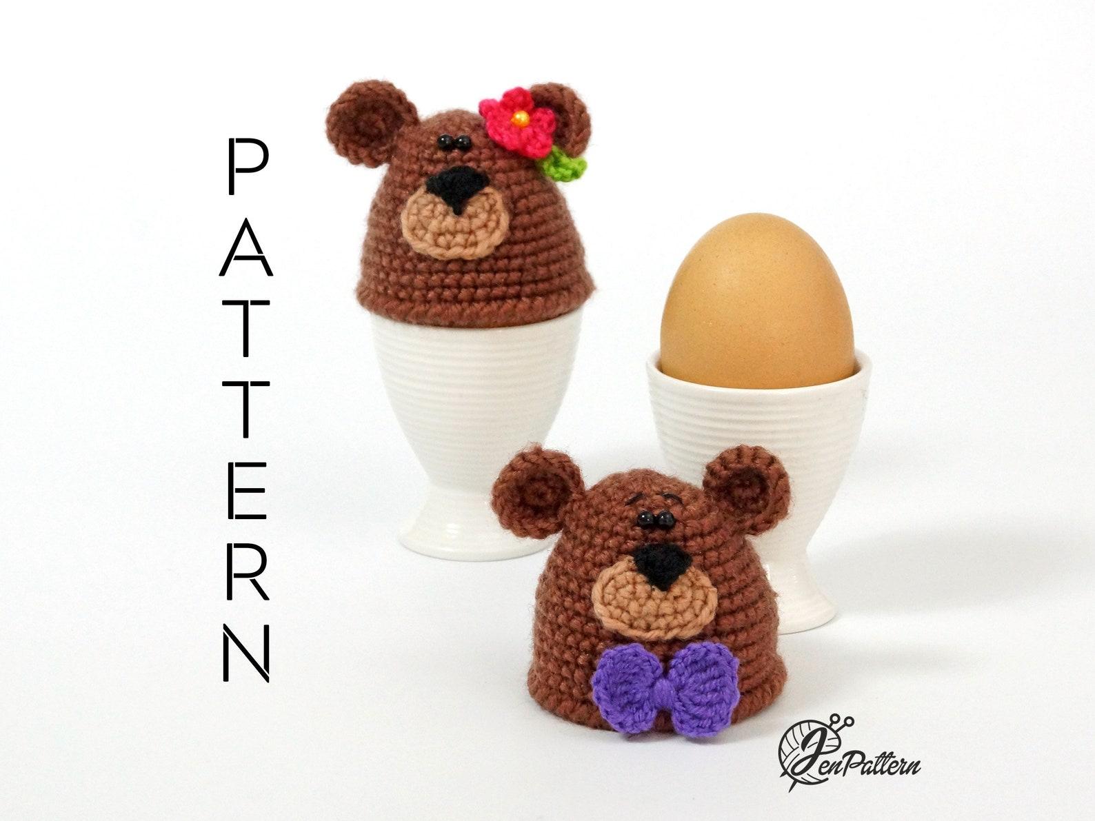 Bear egg warmer crochet PATTERN, Easter decoration, DIY egg cozy, kitchen decor tutorial. PDF file (English)