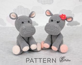 Hippo crochet PATTERN Amigurumi hippo toy Crochet animal pattern DIY crochet hippo pattern Crochet toy pattern Amigurumi pattern DIY hippo