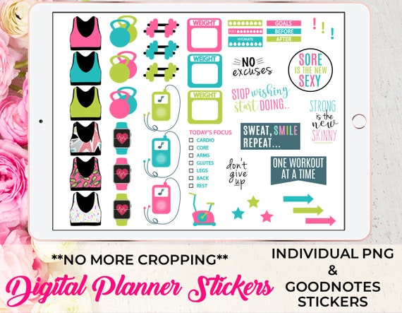 Fitness Workout Digital Planner Stickers For Goodnotes Planner Etsy