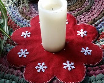 Candlemat Centerpiece~Red snowflake~   Christmas-Winter Decorations