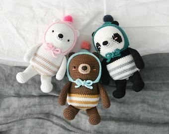 crochet pattern-My pom pom bears(PDF/ENG)