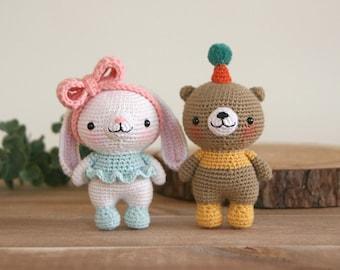 crochet pattern-Mini bunny and bear(PDF/ENG/KOR)