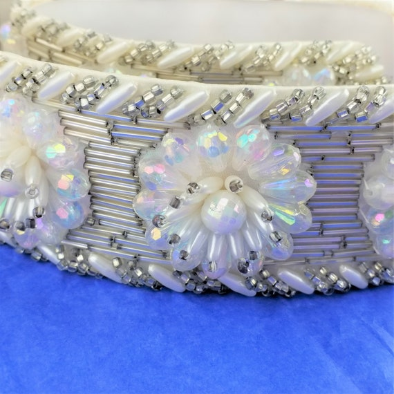 Vintage Crystal and Rhinestone Leather Belt - Mot… - image 3