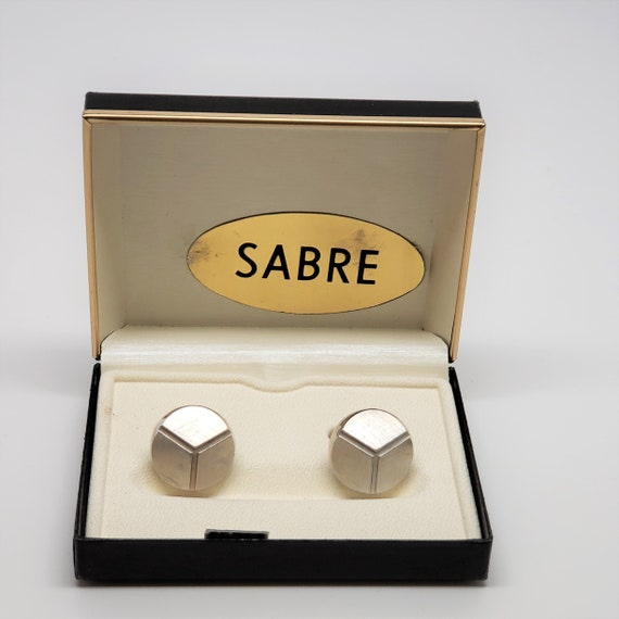 Vintage SABRE men/'s Geometric shape silver tone cuff links NIB