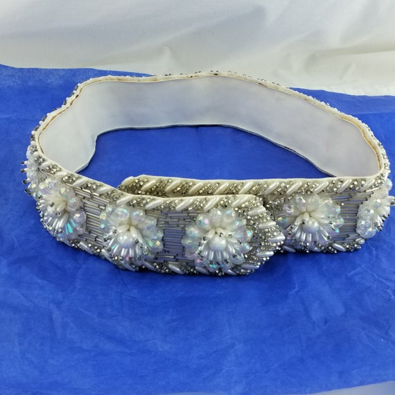 Vintage Crystal and Rhinestone Leather Belt - Mot… - image 6