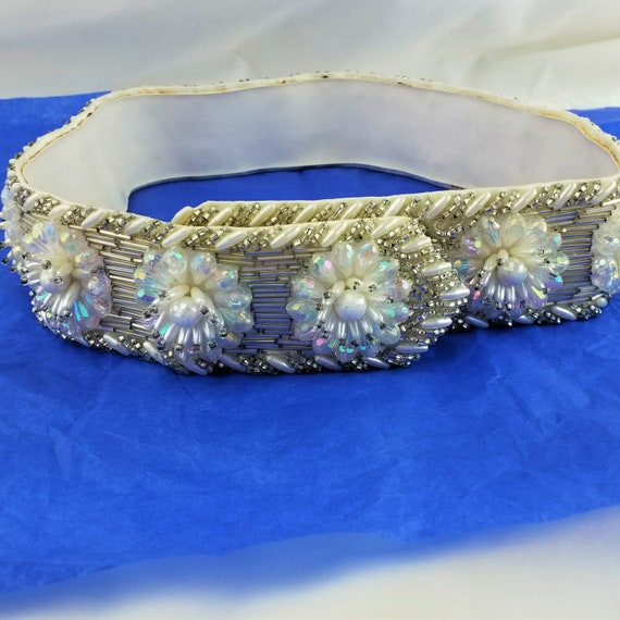 Vintage Crystal and Rhinestone Leather Belt - Mot… - image 4