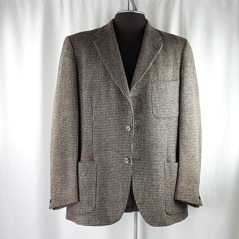 Vintage 80/'s HARRIS TWEED Wool BLAZER  Sport Coat Suit Jacket 40 R Brown Turquoise Dills General Store Wateron Alberta