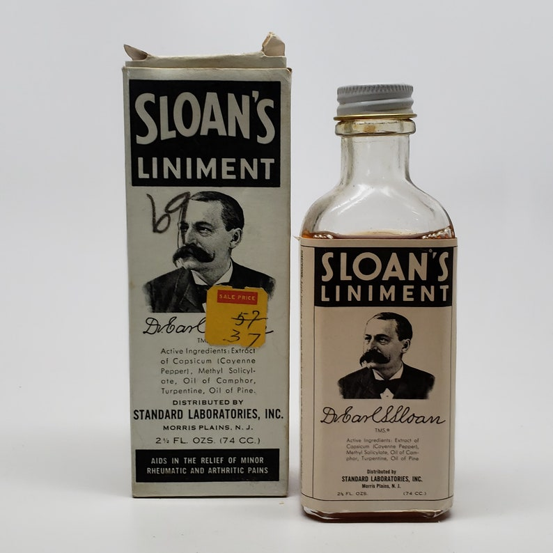 Vintage Sloan's Liniment Bottle with the original box STILL FULL
