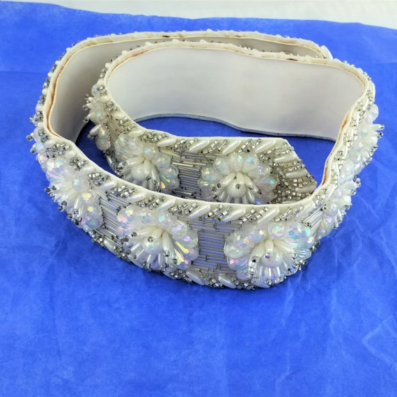 Vintage Crystal and Rhinestone Leather Belt - Mot… - image 1