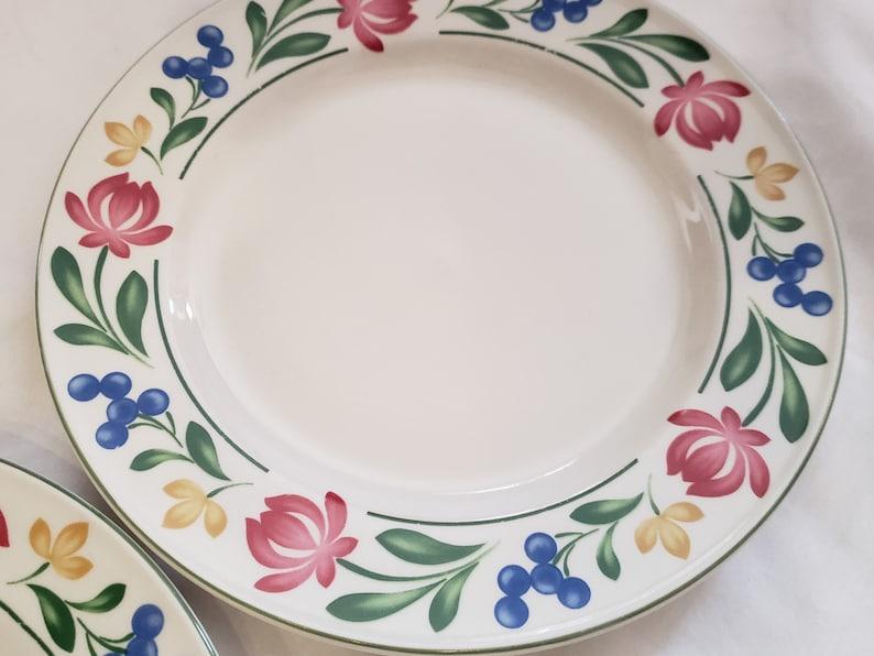 Farberware Dorchester 388 10.5\u201d Dinner Plates Pink Yellow Flowers