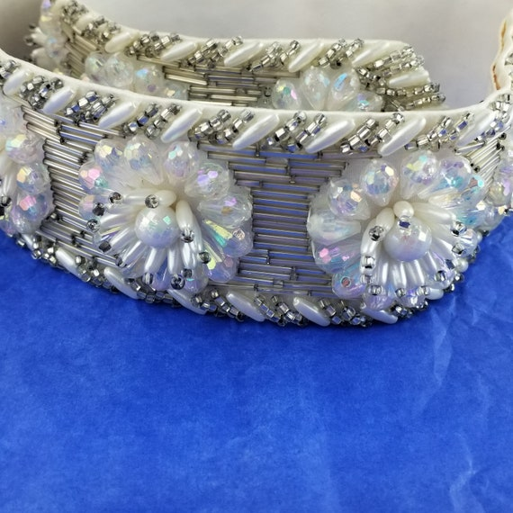 Vintage Crystal and Rhinestone Leather Belt - Mot… - image 2