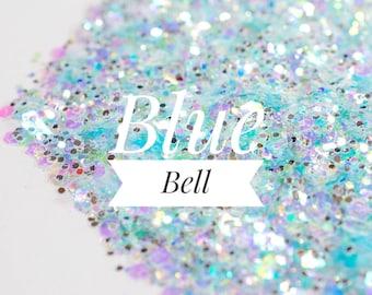 Iridescent Glitter//Blue Bell//Pale Blue Chunky Mix//Metallic//Solvent Resistant//Tumbler Glitter//Nail Art Glitter//Bulk Glitter