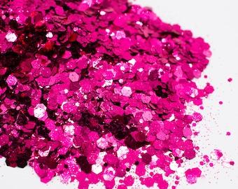 Rose Petal//Metallic Chunky Glitter Mix//Pink Glitter//Solvent Resistant//Tumbler Glitter//Nail Glitter//Body Glitter