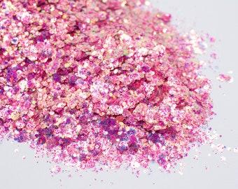 Strawberry Shortcake//Chunky Glitter Mix//Iridescent Pink Glitter Mix//Solvent Resistant//Tumbler Glitter//Nail Glitter//Body Glitter