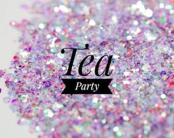 Iridescent Chunky Mix Glitter//Tea Party//Aqua Pink Purple Glitter Mix//Solvent Resistant//Tumbler Glitter//Nail Art//Loose Bulk Glitter