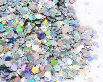 Chunky Bling//Holographic Chunky Glitter Mix//Silver Glitter//Solvent Resistant//Tumbler Glitter//Nail Glitter//Body Glitter
