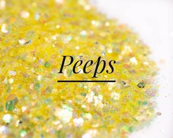 Iridescent Chunky Mix Glitter//Peeps//Yellow Glitter Mix//Solvent Resistant//Tumbler Glitter//Nail Art//Loose Bulk Glitter