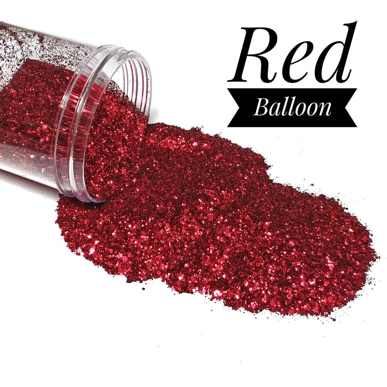Red Chunky Glitter Mix//Red Balloon//Cosmetic Blend//Solvent image 0