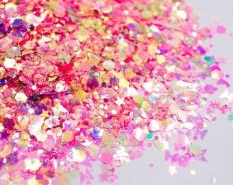 Magic Wand//Chunky Glitter Mix//Iridescent Pink Glitter//Butterfly Glitter//Solvent Resistant//Tumbler Glitter//Nail Glitter//Body Glitter