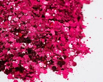 Miss Scarlett//Metallic Chunky Glitter Mix//Pink Glitter//Solvent Resistant//Tumbler Glitter//Nail Glitter//Body Glitter