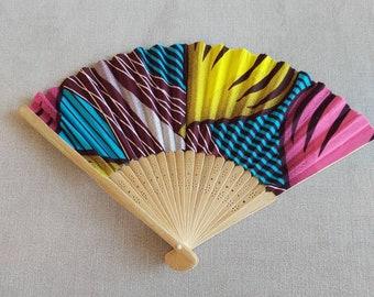 Unique Handmade Handheld Synthetic Ankara Fabric Fan