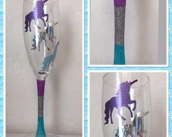 Unicorn Glitter Glass Flute