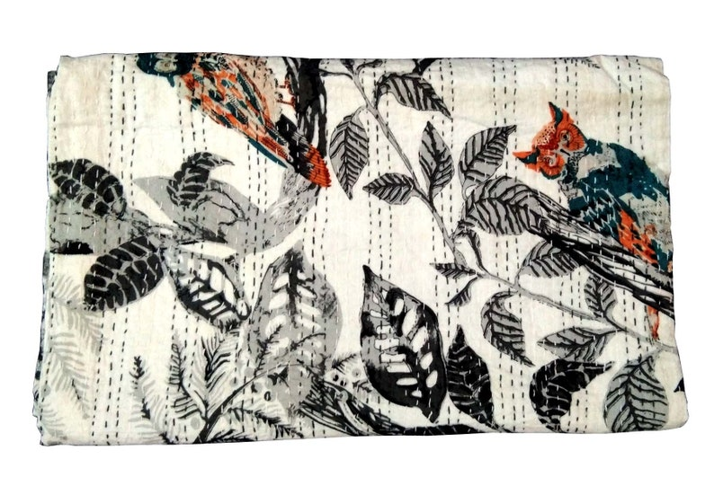 Indian Kantha Quilt Queen Size Handmade Owl Print  Handblock Bedspread Bedcover Pure Cotton