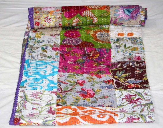 Patchwork Kantha Quilt Indian Queen Bed Cover Blanket Handmade Bedspread Throw