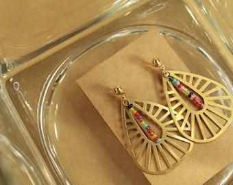 The Farrah Earrings - metal, jewelry, minimal, dainty, simple, gold, handmade, seed beads