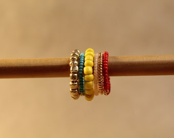 The Rhea Stack - jewelry, minimal, dainty, simple, organic, wire, beads, faceted, silver, gold, stack rings, handmade