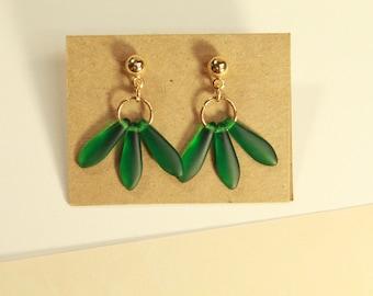 The Roda Earrings - jewelry, minimal, dainty, simple, beads, leaf, rose, sea glass, matte glass small, gold, handmade