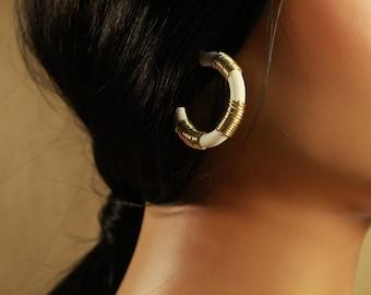 The Maya Hoop Earrings - polymer clay, wrapped, jewelry, minimal, wire, simple, beads, resin, gold, handmade, hoops