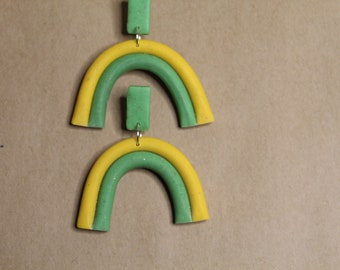 The Tara Earrings - jewelry, earrings, funky, polymer clay, midcentury modern, mix n match, color block, handmade, rainbow, green and yellow