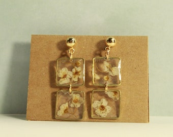 The Renee Earrings - jewelry, minimal, dainty, simple, beads, resin, dried flowers, crystal clear, small, silver, gold, handmade, preorder