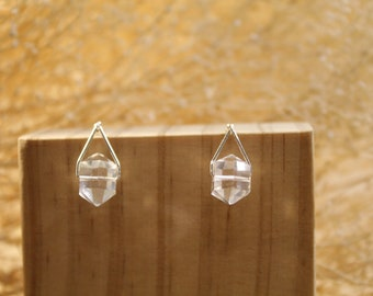 The Theia Earrings - jewelry, minimal, dainty, simple, wire, beads, herkimer diamonds, crystals, natural faceted, silver, gold, handmade