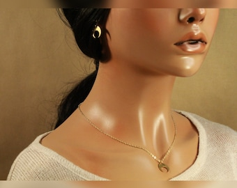 The Dawn Set - jewelry, minimal, dainty, tiny, crescent moon, earrings and necklace set, small, gold, handmade