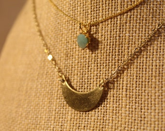 The Selene Necklace - jewelry, half circle, moon, crescent, minimal, dainty, simple, abstract, faceted, gold, handmade, limited edition